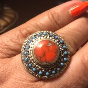 Jewelry - Bohemian Turquoise and Coral oversized ring